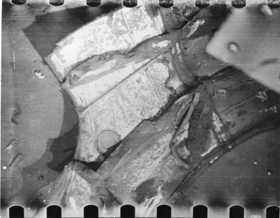 A section of sonar dome from USS Thresher photographed August 24 during the second series of dives by the bathyscaph Trieste. Naval Institute Archives