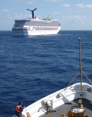 US Coast Guard Cutter Vigorous responds to assist the Carnival Triumph in the Gulf of Mexico on Feb. 11, 2013. US Coast Guard Photo