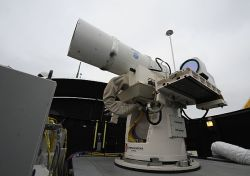 A July 30, 2012 picture of the Navy&#039;s Laser Weapon System (LaWS). US Navy Photo