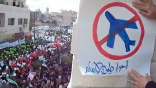 Syrian protestors asking for a no-fly zone in 2011. European Pressphoto Agency