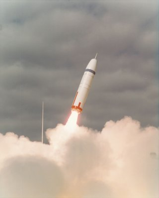 The 1977 flight test of an early Trident missile. US Air Force Photo