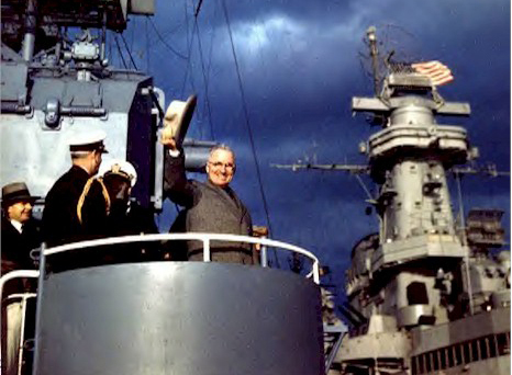 President Harry Truman onboard USS Renshaw during the Navy Day Fleet Review in New York Harbor, 27 October 1945. National Archives Photo