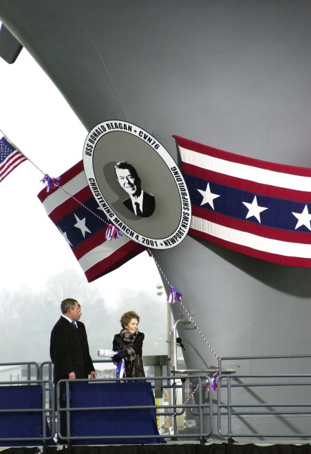 Former First Lady, Nancy Reagan christens USS Ronald Reagan (CVN 76) in 2001. US Army Photo