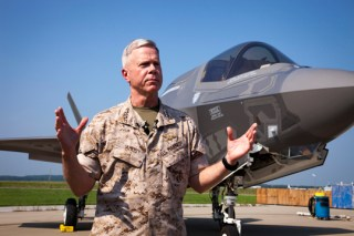 Gen. James Amos talks to reporters in 2011 following a demonstration of the F-35B. US Marine Corps Photo