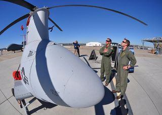 MQ-8B Fire Scout on the flight line at Naval Air Station (NAS) North Island, Calif in 2011. US Navy Photo