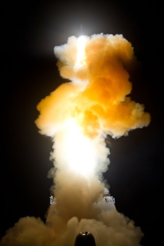 USS Lake Erie fires a SM-3 interceptor in February. MDA Photo