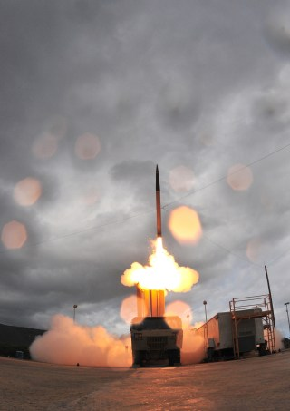 A launch of the US Army's Terminal High Altitude Area Defense (THAAD) system. THADD and two dozen other weapons designs have been stolen by China according to a classified Pentagon report. Missile Defense Agency Photo