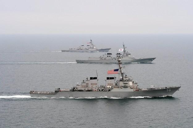 Arleigh Burke-class guided-missile destroyer USS John S. McCain (DDG-56), front, the Republic of Korea Navy Aegis-class destroyer ROKS Seoae-Yu-Seong-Ryong (DDG-993), middle, and the Arleigh Burke-class guided-missile destroyer USS McCampbell (DDG-85). US Navy Photo