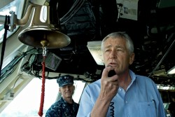 Secretary of Defense Chuck Hagel addresses the crew of the USS Freedom (LCS 1) in Singapore, June 2, 2013. Department of Defense Photo