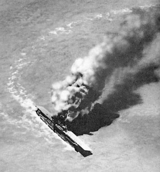 USS Yorktown after a series of torpedo strikes in 1942. Naval Institute Archives