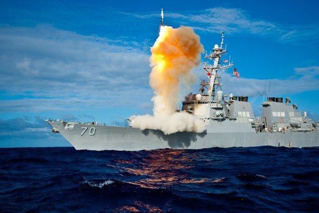 The Aegis-class destroyer USS Hopper (DDG-70) launches a standard missile (SM) 3 Blk IA in July 2009. US Navy Photo