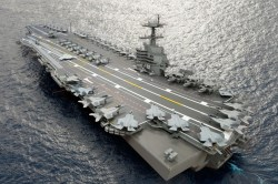 A composite photo illustration representing the Ford-class aircraft carrier, USS John F. Kennedy (CVN-79). US Navy Photo