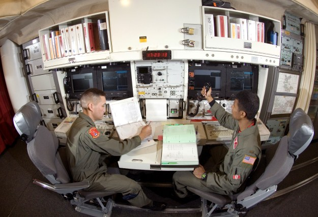 MIssile launch officers in a luanch control officers. U.S. Air Force Photo