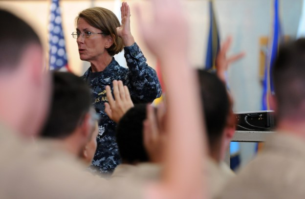 Capt. Susan K. Cerovsky leads a discussion during sexual assault prevention and response (SAPR) training in June 2013. US Navy Photo