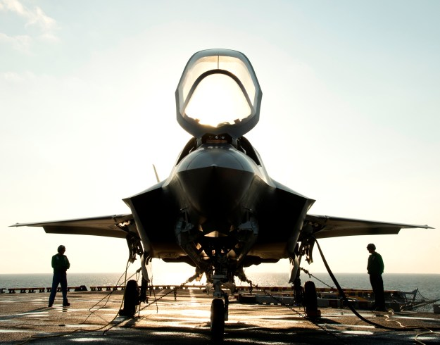 The canopy of a US Marine Corps F-35B Lightning II Joint Strike Fighter on Aug. 24, 2013. US Navy Photo