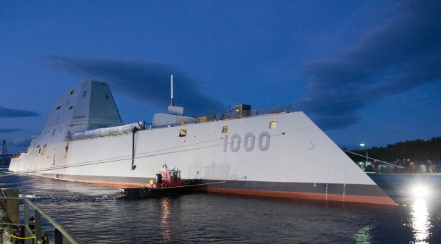 Zumwalt-class guided-missile destroyer DDG 1000 is floated out of dry dock at the General Dynamics Bath Iron Works shipyard on Oct. 28, 2013. US Navy Photo