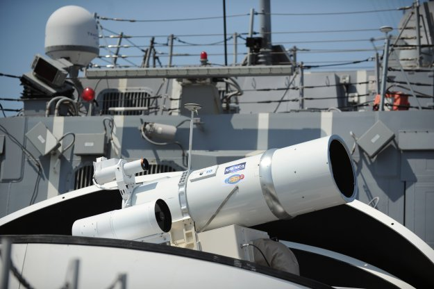 The Laser Weapon System (LaWS) installed aboard the guided-missile destroyer USS Dewey (DDG-105) US Navy Photo