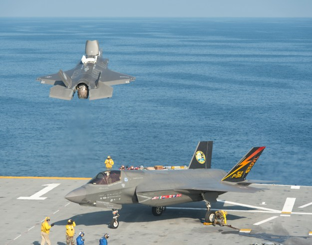 A pair of F-35B test aircraft on USS Wasp (LHD-1) on Aug. 12, 2013. US Navy Photo