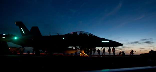 EA-18G Growler from Electronic Attack Squadron (VAQ) 129 during night flight operations aboard the aircraft carrier USS Carl Vinson (CVN-70). US Navy Photo