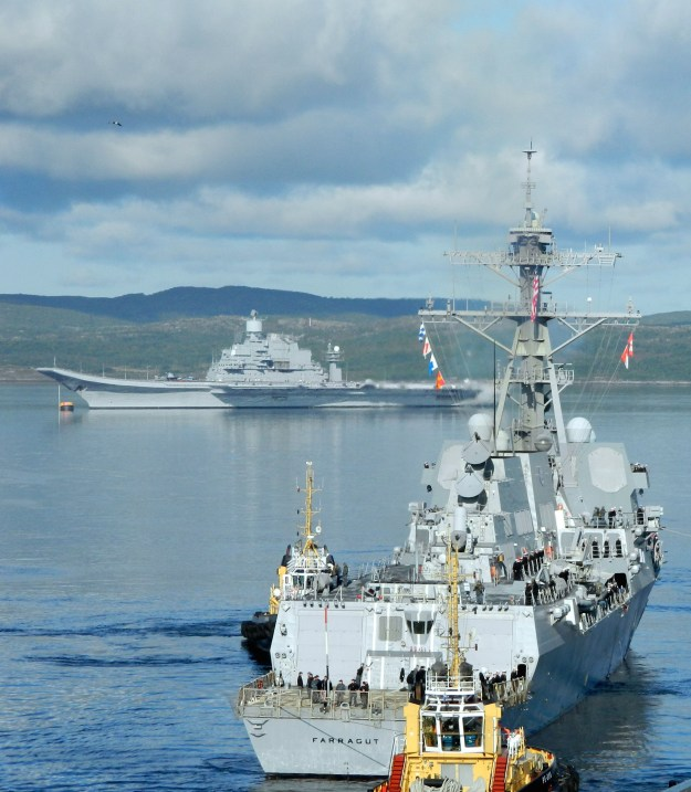 USS Farragut (DDG-99) arrives in Severomorsk, Russia for a two-day visit after completing exercise Northern Eagle 2012. Russian Navy Photo