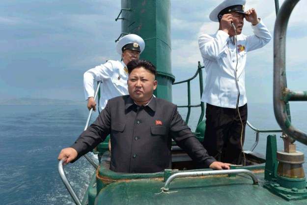 Kim Jong Un in the conning tower of what appears to be a Project 633 diesel submarine. KCNA Photo