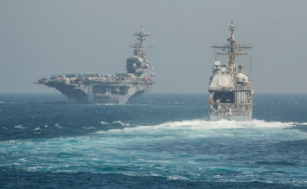 Ticonderoga-class guided-missile cruiser USS Philippine Sea (CG-58) and USS George Washington (CVN-77) on July 2, 2014. US Navy Photo