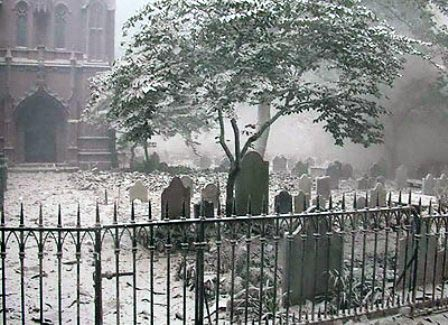Trinity Church Yard shortly after the 9-11 attacks. US Coast Guard Photo