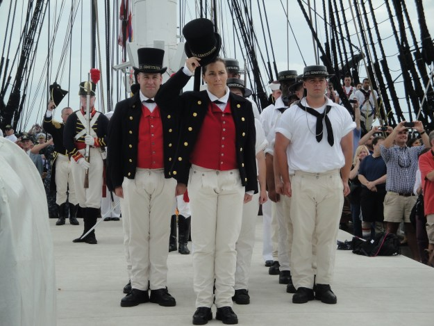 Constitution sailors salute Ft. Independence during a July 4, 2014 underway for the ship. Glenn Moyer Photo