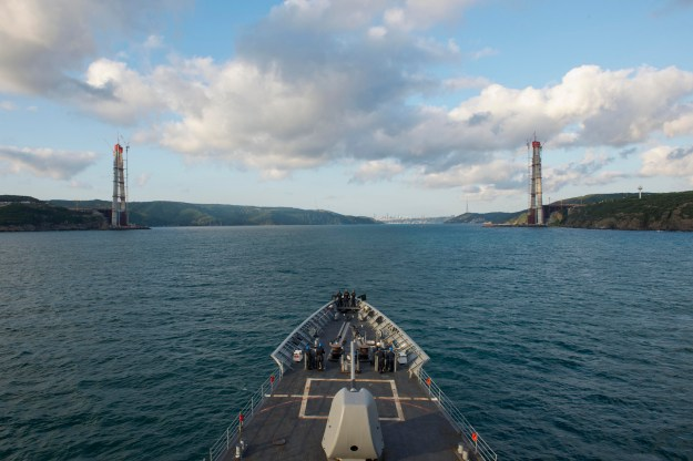 USS Vella Gulf (CG-72) departs the Black Sea and enters the Bosphorus Strait on Aug. 26, 2014.