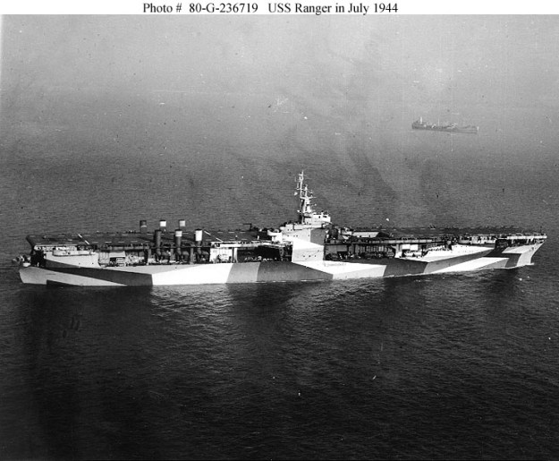 USS Ranger (CV-4) in 1944. US Navy Photo
