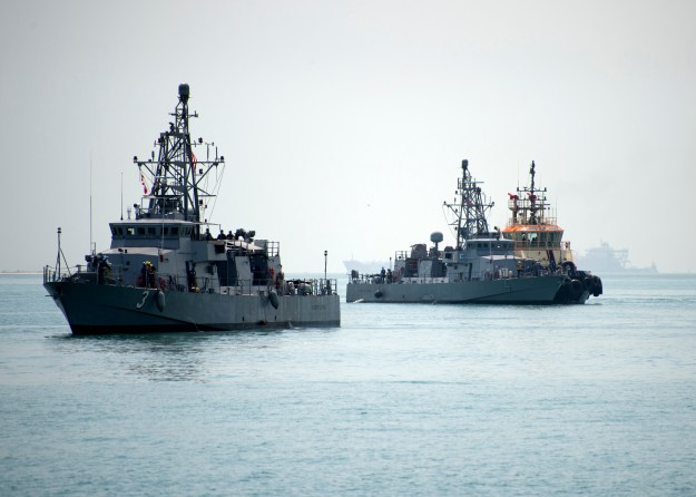 USS Hurricane (PC 3) and USS Monsoon (PC 4) arrive to their new homeport at Naval Support Activity, Bahrain on Aug. 13, 2014. US Navy Photo