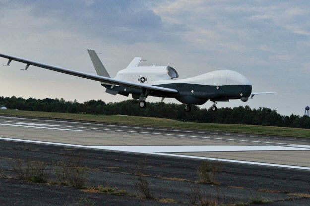 MQ-4C Triton unmanned aircraft system lands at Naval Air Station Patuxent River, Md. on Sept. 18, 2014. US Navy Photo