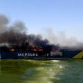 Ukrainian patrol boat following an artillery garage in the Azoz Sea on Aug. 31, 2014. Ukrainian State Border Guard