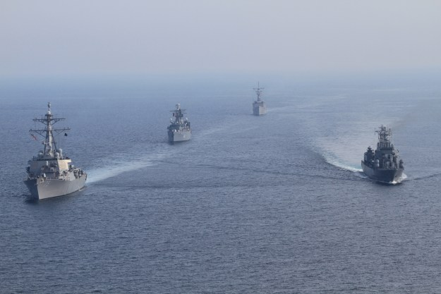 USS Donald Cook (DDG 75) and the guided-missile frigate USS Taylor (FFG 50) participate in a bilateral underway engagement with Romanian ships, the frigate ROS Regina Maria (F 222) and the frigate ROS Marasesti (F 111) in the Black Sea in April 2014. US Navy Photo