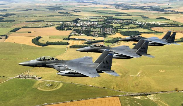 An undated photo of F-15s over the English countryside. US Air Force Photo