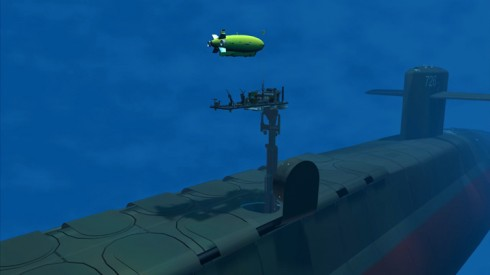 An artist's conception of a large unmanned underwater vehicle (UUV).
