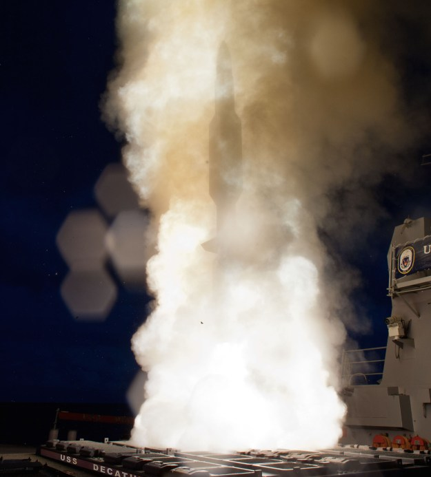 A Standard Missile-3 (SM-3) Block 1A interceptor is launched from the guided-missile destroyer USS Decatur (DDG-73) on Sept. 9, 2013. US Navy Photo