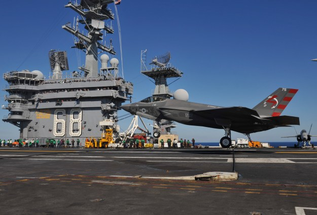 US Navy F-35C Joint Strike Fighter lands for the first time on USS Nimitz (CVN-68) on Nov. 3, 2014. US Navy Photo
