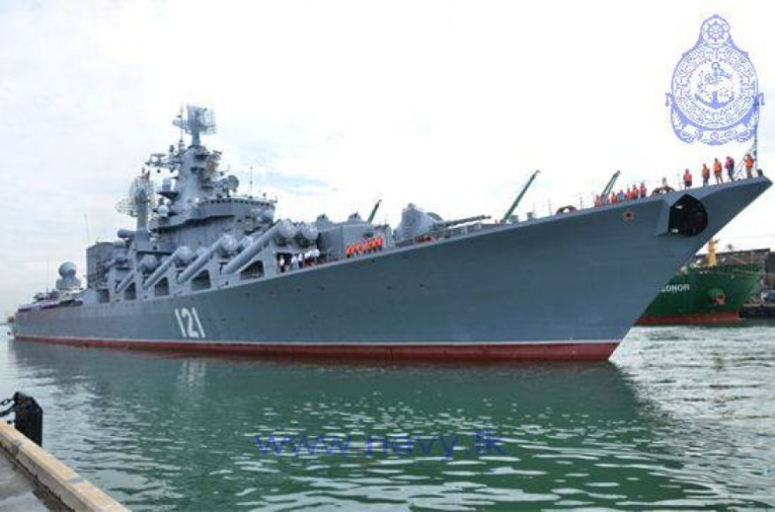 Russian guided missile cruiser Moscow (or Moskva) arriving in the port of Colombo, Sri Lanka. Sri Lanka Dept. of Government Information Photo