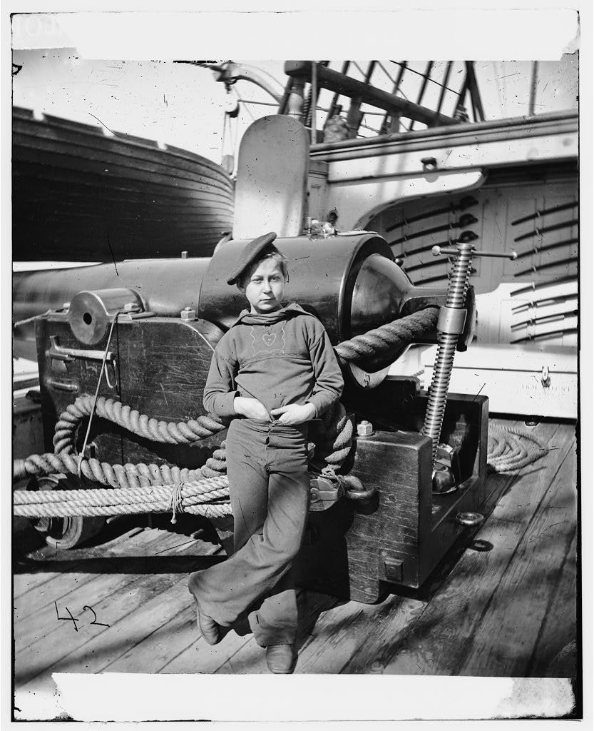 Powder Monkey on board USS New Hampshire off Charleston, S.C., circa 1864.