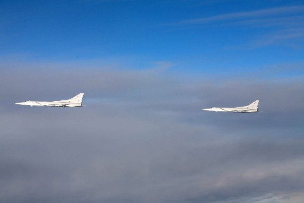 Undated photo of two Tupolev+Tu-22M Backfire bombers. Finnish Defense Forces Photo
