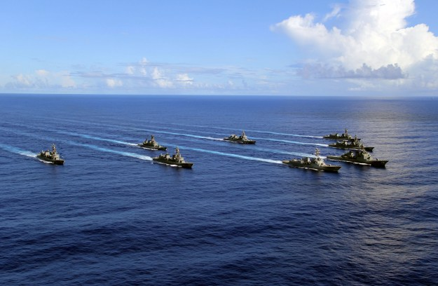 USS Pinckney (DDG-91) and the Japan Maritime Self-Defense Force (JMSDF) ships near Guam on July 8, 2014. US Navy Photo