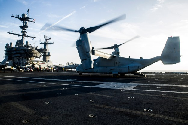 An MV-22 Osprey tiltrotor aircraft USS George Washington (CVN-73). US Navy Photo