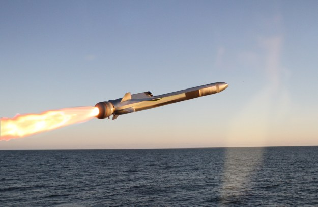 An undated photo of a Kongsberg Naval Strike Missile in flight. Kongsberg Photo