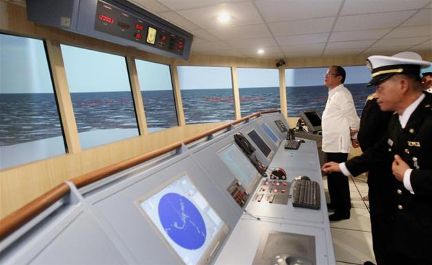 An undated photo pf President of the The Philippines Benigno Aquino visiting a bridge simulator at the Philippine Merchant Marine Academy