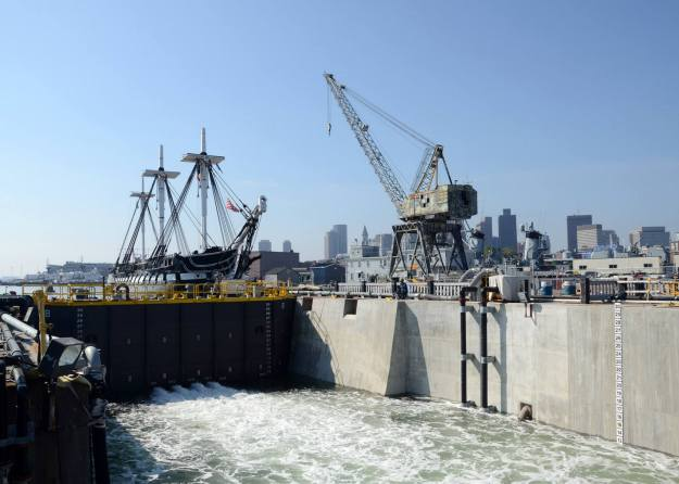 USS Constitution prepares to enter dry dock on Monday. US Navy Photo