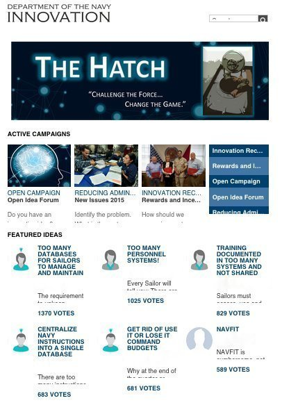 A screenshot of the Hatch homepage, courtesy of US Navy.