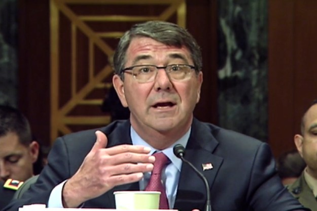 Defense Secretary Ash Carter testifies on defense posture before the Senate Appropriations Committee's defense subcommittee in Washington, D.C., May 6, 2015. Army Gen. Martin E. Dempsey, chairman of the Joint Chiefs of Staff, also testified during the hearing. DoD screen shot