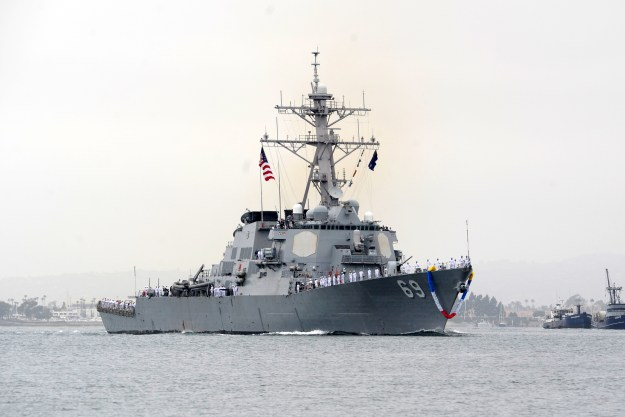 USS Milius (DDG-69) returns to homeport Naval Base San Diego after an eight-month independent deployment to the western Pacific and U.S. Central Command areas of responsibility in 2012. US Navy Photo