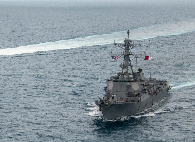 USS Sampson (DDG-102), operates in the Java Sea while supporting the Indonesian-led search effort for AirAsia flight QZ8501. US Navy Photo